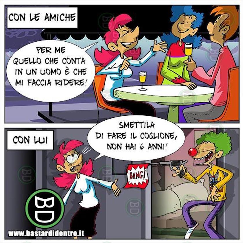 Vignetta Donna Ridere Clown Pagliaccio Pistola Amiche Soli