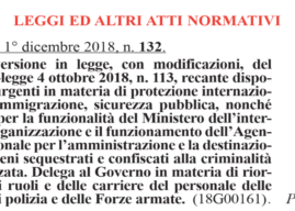 """Pubblicata in Gazzetta Ufficiale la Legge di Conversione del """"Decreto Sicurezza"""""""