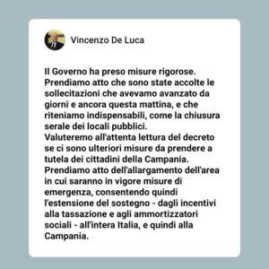 Emergenza Coronavirus Aggiornamento Con Dpcm 13 Ottobre 2020 Normativa Nazionale Regione Campania Passiamo